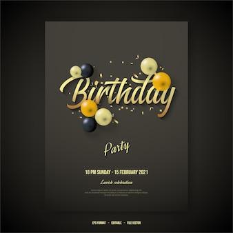 Cartaz de feliz aniversário com escrita elegante de ouro.