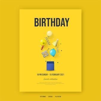 Cartaz de feliz aniversário com ilustração de balões, caixa de presente e chapéu de aniversário.