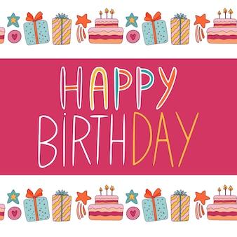 Cartaz de feliz aniversário desenhado na mão estilo com bolo e borda boxex de presente. design de cartão de felicitações.