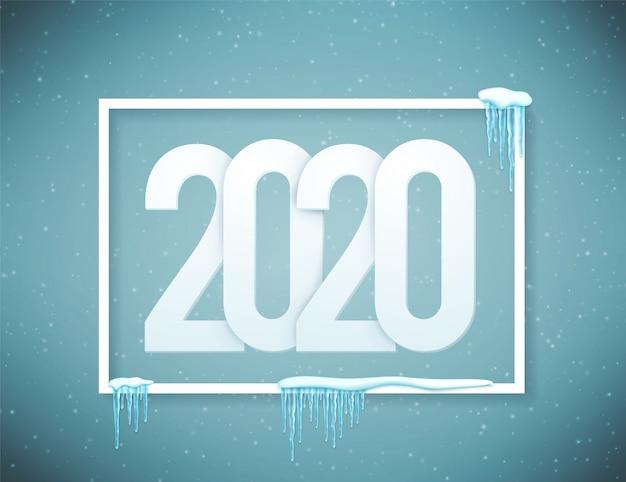 Cartaz de feliz ano novo de 2020 decorado com neve realista e gelo.