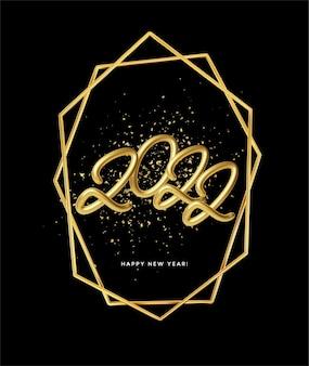 Cartaz de feliz ano novo de 2022 com partículas de glitter dourado