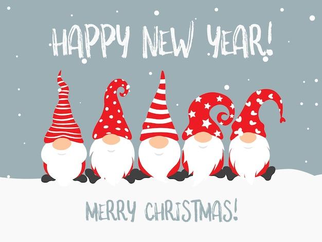 Cartaz de feliz ano novo e feliz natal com personagens de gnomos para decoração