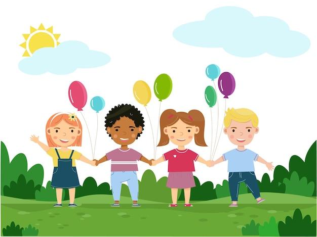 Cartaz de feliz dia da criança com crianças sorridentes e felizes do jardim de infância da amizade