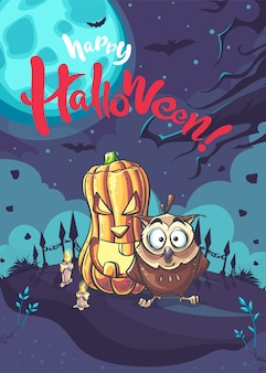 Cartaz de feliz dia das bruxas com abóbora e fantasma