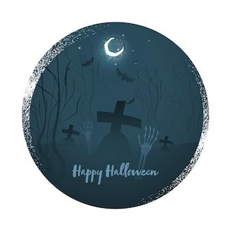 Cartaz de feliz dia das bruxas com mãos de esqueleto e lua crescente no fundo escuro do cemitério da cerceta.