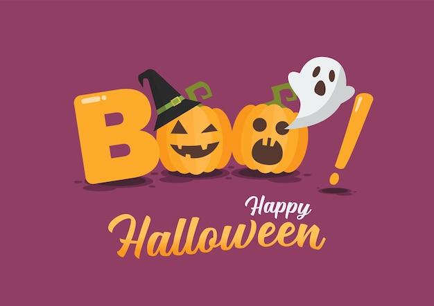 Cartaz de feliz dia das bruxas. halloween pumpkins é parte da palavra boo. ilustração