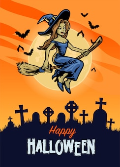 Cartaz de feliz dia das bruxas