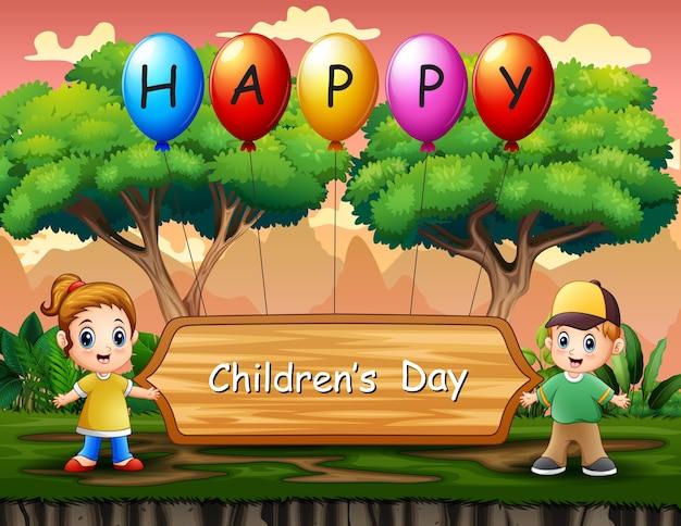 Cartaz de feliz dia das crianças com crianças em pé