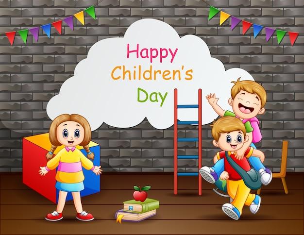 Cartaz de feliz dia das crianças com crianças felizes