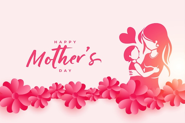 Cartaz de feliz dia das mães com mãe e filho