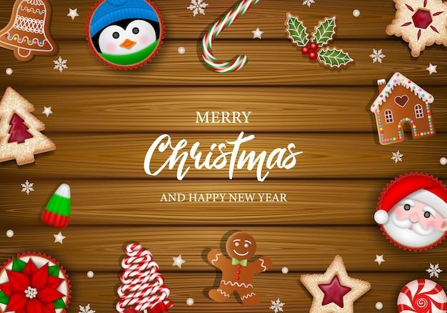 Cartaz de feliz natal com biscoitos doces e bolos em fundo de madeira.