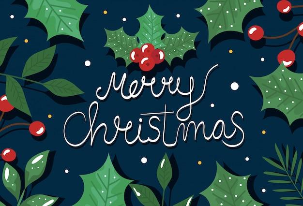 Cartaz de feliz natal com folhas decorativas