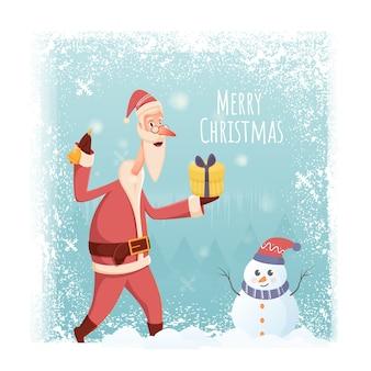 Cartaz de feliz natal com papai noel segurando uma caixa de presente, personagem de sino e boneco de neve no fundo de neve caindo.