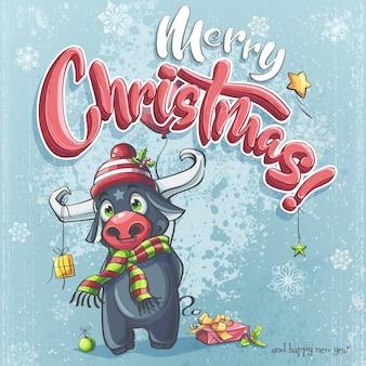 Cartaz de feliz natal com touro