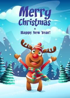 Cartaz de feliz natal com uma rena feliz