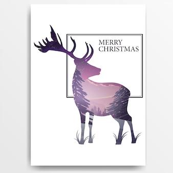 Cartaz de feliz natal com uma silhueta de um cervo dentro que é uma paisagem de inverno