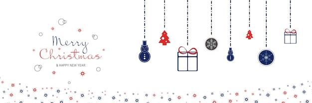 Cartaz de feliz natal e ano novo de 2022 banner minimalista de natal com árvores de bonecos de neve pendurados
