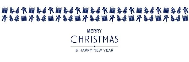 Cartaz de feliz natal e ano novo de 2022 banner minimalista de natal com padrão azul e bonecos de neve