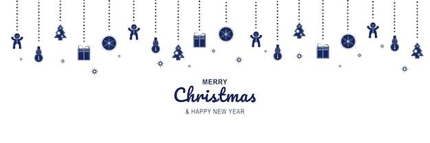 Cartaz de feliz natal e ano novo de 2022 banner minimalista de natal com pães de gengibre pendurados em azul