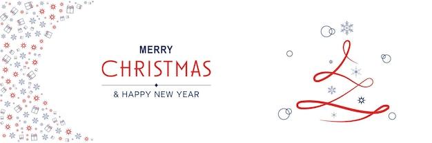 Cartaz de feliz natal e ano novo de 2022 banner mínimo de natal com árvore de linha e padrão abstrato