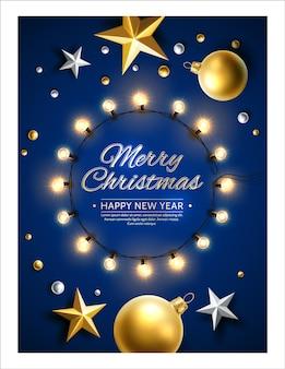 Cartaz de feliz natal e feliz ano novo. árvore de natal realista, bolas de brinquedo, estrelas, guirlanda brilhante