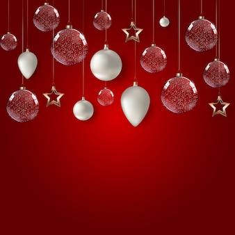 Cartaz de feliz natal e feliz ano novo com bolas de vidro brilhante.