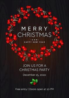 Cartaz de feliz natal e feliz ano novo. coroa de flores com bagas vermelhas em fundo escuro.