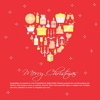 Cartaz de feliz natal em estilo simples