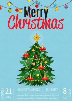 Cartaz de feliz natal para promoção de festa natalícia