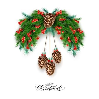 Cartaz de feliz natal ramos de abeto vermelho bagas com pinhas
