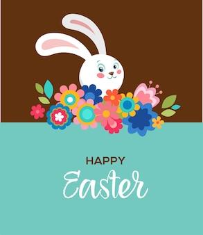 Cartaz de feliz páscoa com flores e coelho