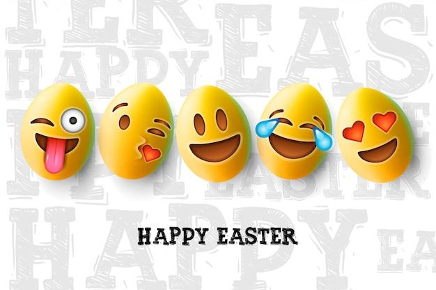 Cartaz de feliz páscoa, ovos de páscoa com carinhas sorridentes emoji,.