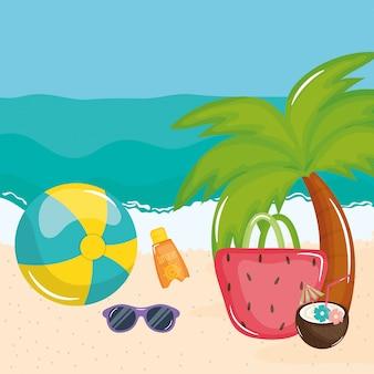 Cartaz de férias de verão com cena de praia e ícones