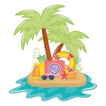 Cartaz de férias de verão com ilha e ícones