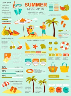 Cartaz de férias de verão com modelo de elementos de infográfico em estilo simples.
