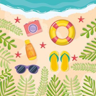 Cartaz de férias de verão com sandálias e ícones