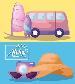 Cartaz de férias de verão com van e câmera