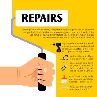 Cartaz de ferramentas de reparação com conjunto de ferramentas de hardware para serviços de manutenção em casa