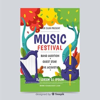 Cartaz de fest de música desenhada de mão