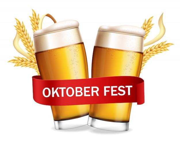 Cartaz de fest de outubro de copos de cerveja