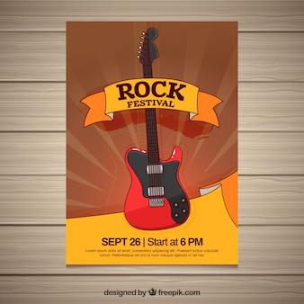 Cartaz de fest rock com guitarra desenhada à mão