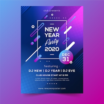 Cartaz de festa abstrata inverno férias ano novo 2020