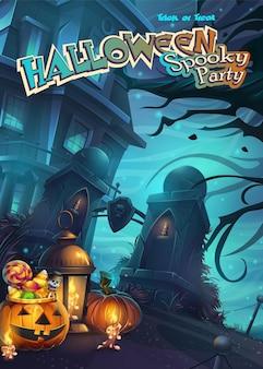 Cartaz de festa assustador de halloween com ilustração
