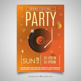 Cartaz de festa com disco de vinil