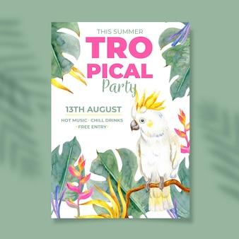 Cartaz de festa com elementos tropicais