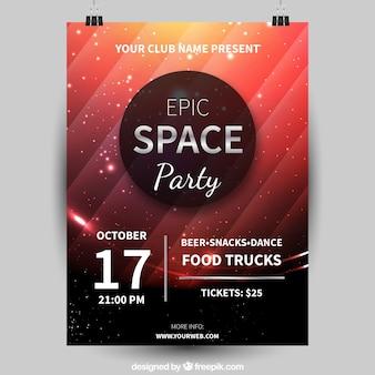Cartaz de festa com estilo espacial