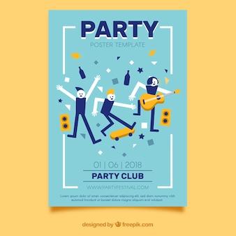 Cartaz de festa com pessoas dançando