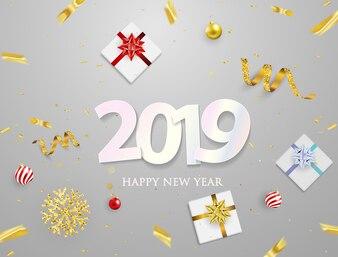 Cartaz de festa de 2019 e feliz ano novo fundo.