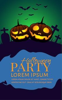 Cartaz de festa de abóboras de halloween.