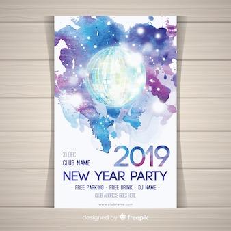 Cartaz de festa de ano novo de bola de discoteca em aquarela